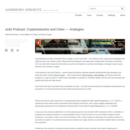 a16z Podcast: Cryptonetworks and Cities - Analogies