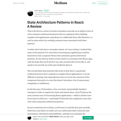 State Architecture Patterns in React: A Review - Skyler Nelson - Medium