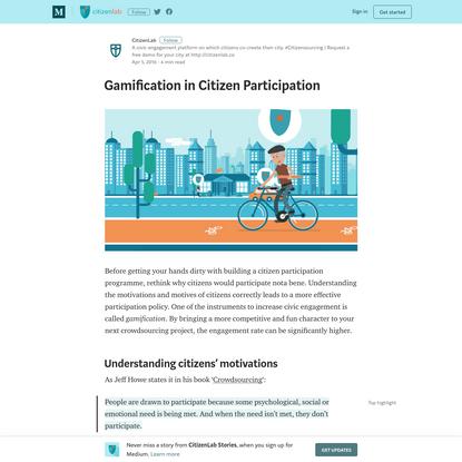 Gamification in Citizen Participation - CitizenLab Stories - Medium