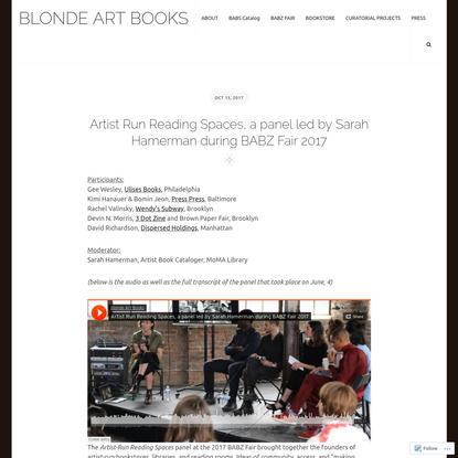 Artist Run Reading Spaces, a panel led by Sarah Hamerman during BABZ Fair 2017