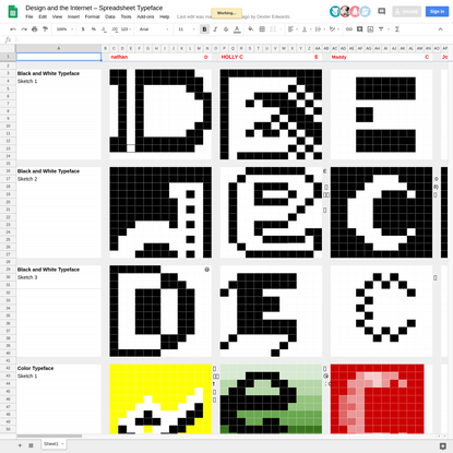 Design and the Internet - Spreadsheet Typeface