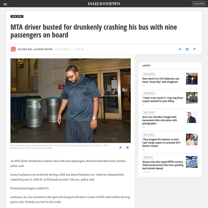 MTA driver busted for drunkenly crashing his bus with nine passengers on board - NY Daily News