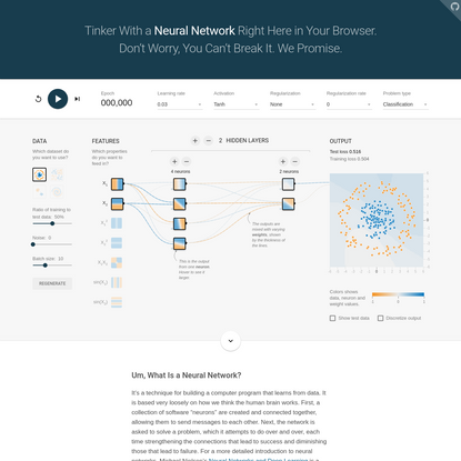 Tensorflow - Neural Network Playground