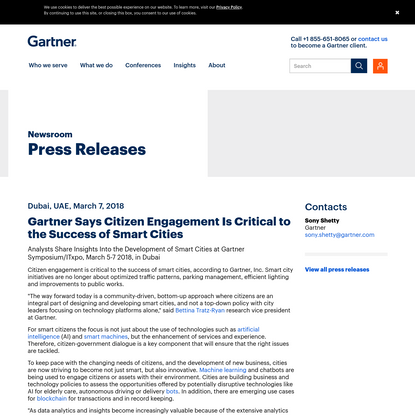 Gartner Says Citizen Engagement Is Critical to the Success of Smart Cities