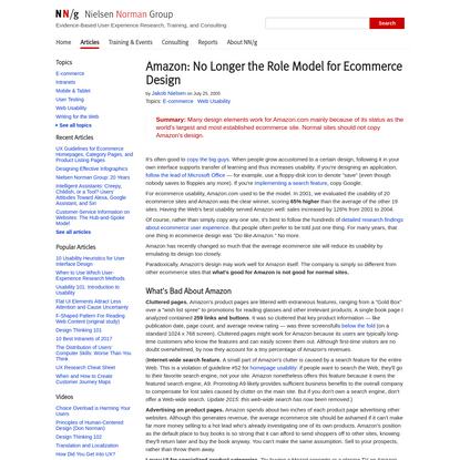 Amazon: No Longer the Role Model for Ecommerce Design