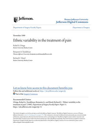 Ethnic variability in the treatment of pain