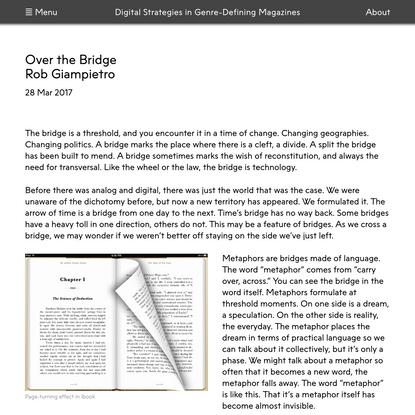 Digital Strategies in Genre Defining-Magazines | Over the Bridge