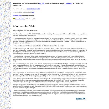 Olia Lialina. A Vernacular web. Indigenous and Barbarians.