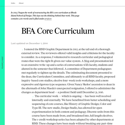 John Caserta BFA Core Curriculum