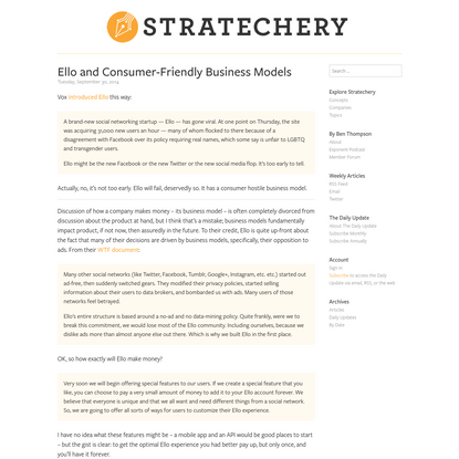Ello and Consumer-Friendly Business Models