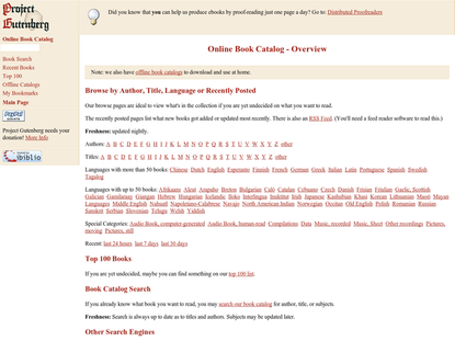 Online Book Catalog - Overview - Project Gutenberg