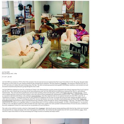 Art Club 2000 - Selected Works 1992 - 1994