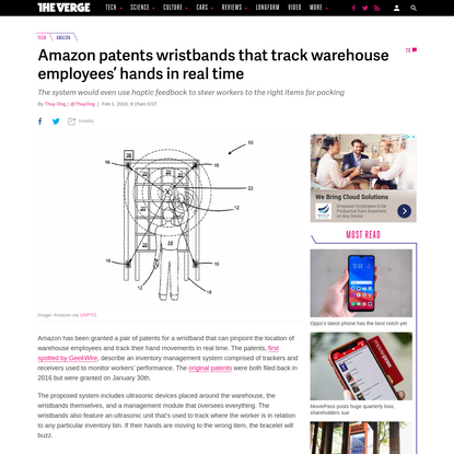 Amazon patents wristbands that track warehouse employees' hands in real time