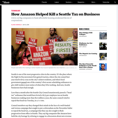 How Amazon Helped Kill Seattle a Tax On Business