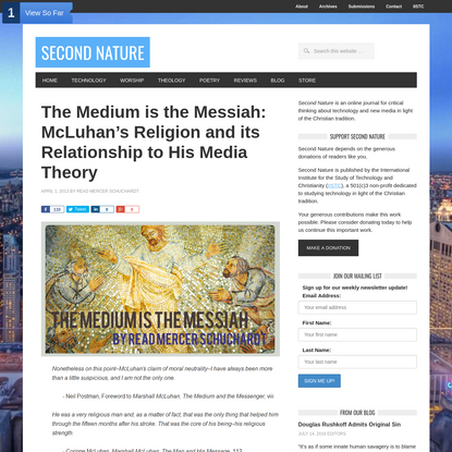 The Medium is the Messiah: McLuhan's Religion and its Relationship to His Media Theory | Read Mercer Schuchardt