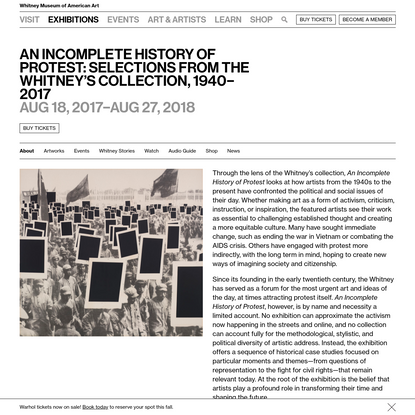 An Incomplete History of Protest: Selections from the Whitney's Collection, 1940-2017 | Whitney Museum of American Art