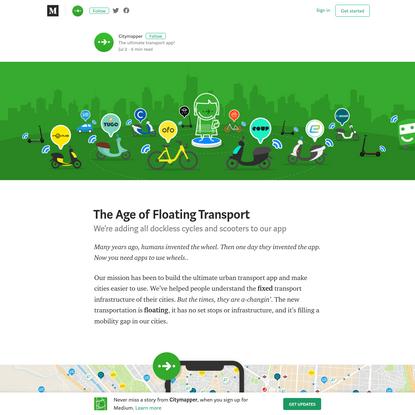 The Age of Floating Transport - Citymapper - Medium