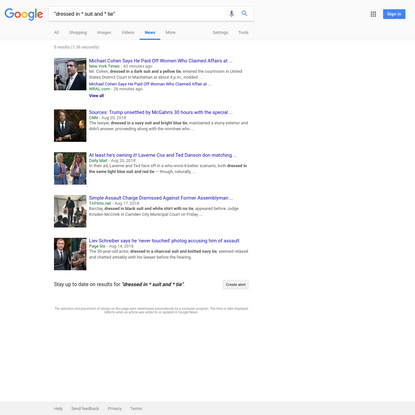 """""""dressed in * suit and * tie"""" - Google News Search"""