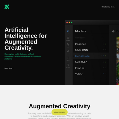 Runway: Artificial Intelligence for Augmented Creativity. Machine Learning. Runway ML