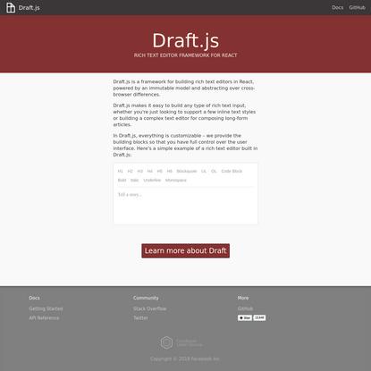 Draft.js · Rich Text Editor Framework for React