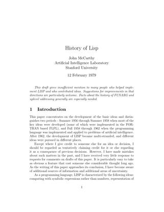 History of Lisp