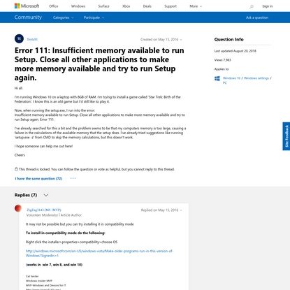 Error 111: Insufficient memory available to run Setup. Close all other applications to make more memory available and try to...
