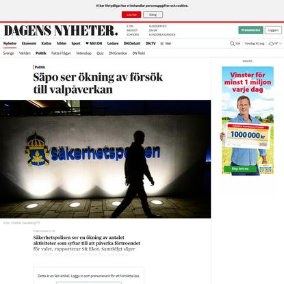 Säpo ser ökning av försök till valpåverkan - DN.SE
