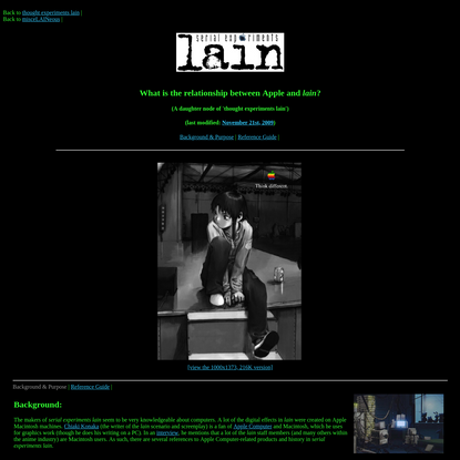 Infomania: What is the relationship between Apple and lain?