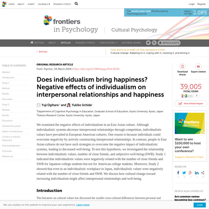Does individualism bring happiness? Negative effects of individualism on interpersonal relationships and happiness