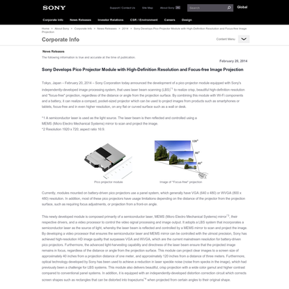 Sony Global - News Releases - Sony Develops Pico Projector Module with High-Definition Resolution and Focus-free Image Projection