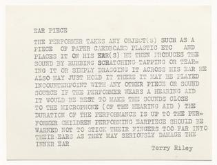 Terry Riley, Ear Piece, c. 1962
