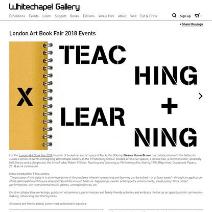 X Publishing School: Teaching + Learning - Whitechapel Gallery