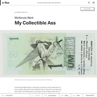 My Collectible Ass - Journal #85 October 2017 - e-flux