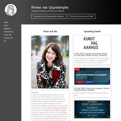 Aimee van Wynsberghe | Asst. Professor of Ethics and Robotics