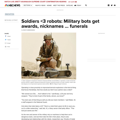 Soldiers <3 robots: Military bots get awards, nicknames ... funerals