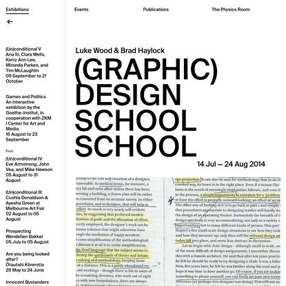 (Graphic) Design School School | The Physics Room