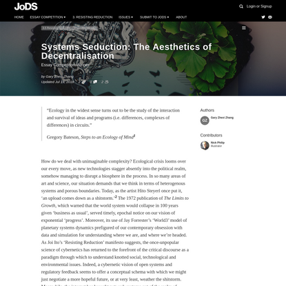 Systems Seduction: The Aesthetics of Decentralisation