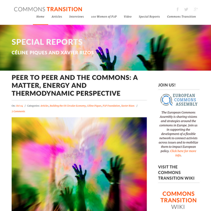 Peer to Peer and the Commons: A matter, energy and thermodynamic perspective - Commons Transition