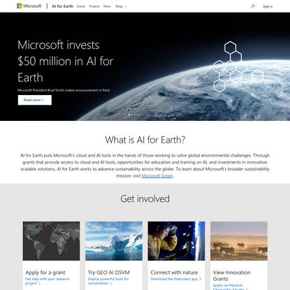 Microsoft AI for Earth | Using AI to advance sustainability
