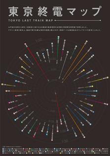 Tokyo last-train map (designed by Chizuto Design)