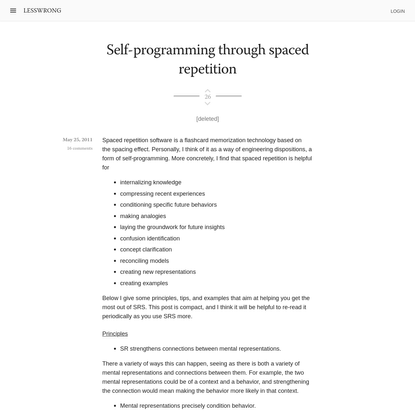 Self-programming through spaced repetition - LessWrong 2.0