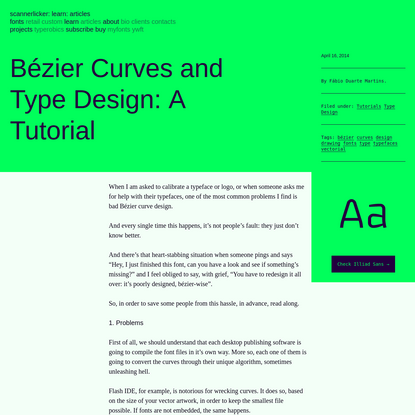Bézier Curves and Type Design: A Tutorial | Learn - Scannerlicker!