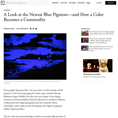 A Look at the Newest Blue Pigment-and How a Color Becomes a Commodity