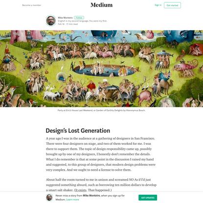 Design's Lost Generation - Mike Monteiro - Medium