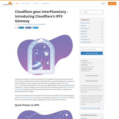 Cloudflare goes InterPlanetary - Introducing Cloudflare's IPFS Gateway