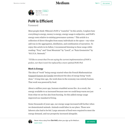 PoW is Efficient - Dan Held - Medium