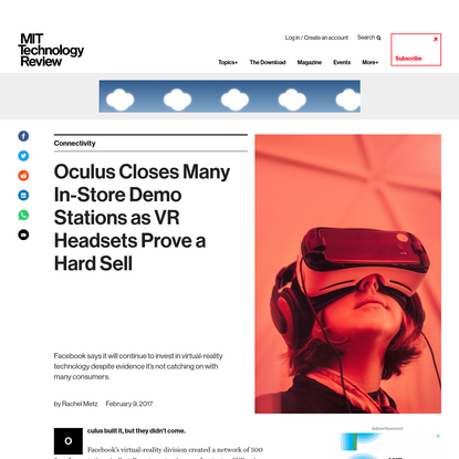 Oculus closes many in-store demo stations as VR headsets prove to be a hard sell