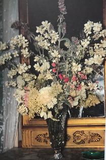"Cut crystal vase on mirror console with white, cream and pink flowers; ""Gruss an Aachen"" roses, false jasmine, lathyrus, geranium, lamb's ears, sweet william, clarkia, flowering ground elder and flowering elder"