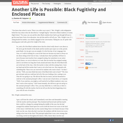 Another Life is Possible: Black Fugitivity and Enclosed Places - Cultural Anthropology