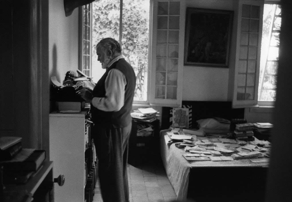 "Ernest Hemingway at his standing ""desk"""